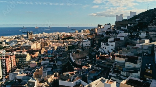 In de dag Mediterraans Europa aerial drone footage of the city with beautiful seascape the old town at sunset