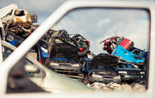 Pile Of Old Used Cars Waiting To Be Disposed On Scrapyard
