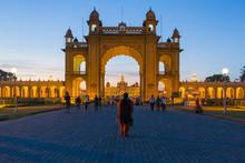 City Palace, Entrance Gateway To The Maharaja's Palace, Mysore, Karnataka