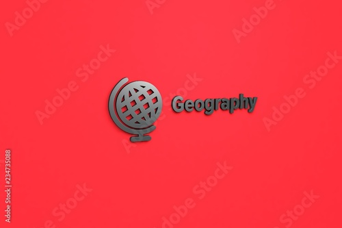Fotografia  Illustration of Geography with grey text on red background