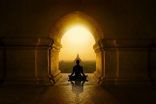 Meditation In Buddhist Temple
