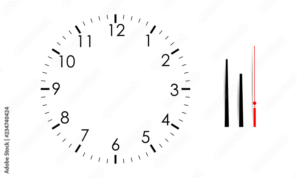 Fototapety, obrazy: Blank clock face mock up with hour, minute and second hands, isolated on white background. Vector illustration