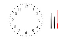 Blank Clock Face Mock Up With Hour, Minute And Second Hands, Isolated On White Background. Vector Illustration
