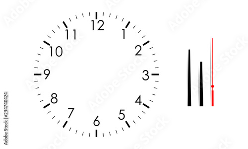 Blank clock face mock up with hour, minute and second hands, isolated on white background Wallpaper Mural