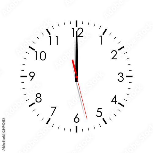 Obraz Clock face isolated on white background. 12 o'clock. Vector illustration - fototapety do salonu