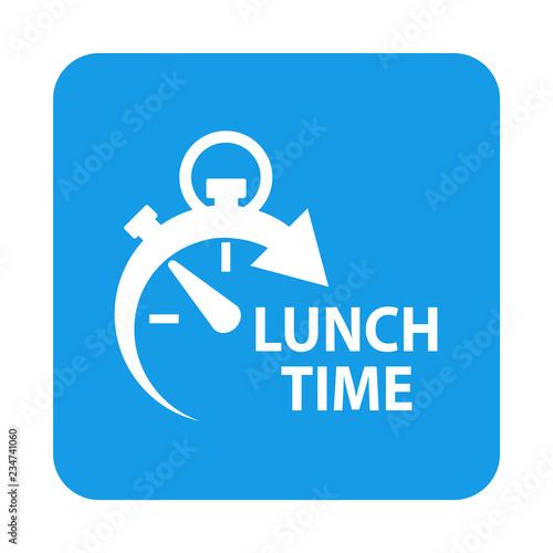 Icono plano con texto LUNCH TIME con reloj en cuadrado azul