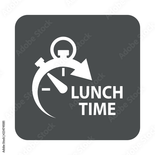 Deurstickers Buffet, Bar Icono plano con texto LUNCH TIME con reloj en cuadrado gris