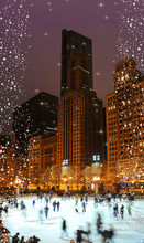 Chicago Magic With Snowflakes And Ice-skating.