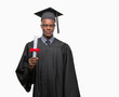 Young graduated african american man holding degree over isolated background with a confident expression on smart face thinking serious