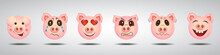 Set Of Funny Pig Characters In...