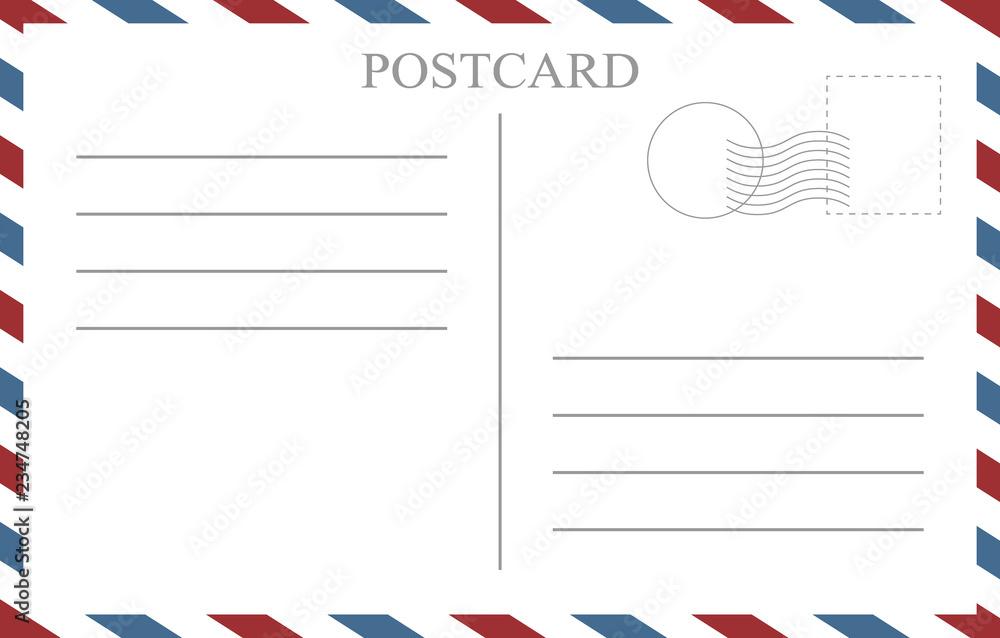 Fototapeta Postcard back blank template. Vintage postcard empty vector template.
