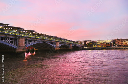 colorful sunset scenery of Thames river in London city United Kingdom