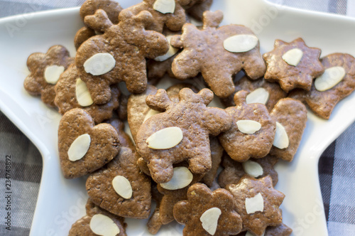 Group Of Brown Moravian Dark Gingerbreads With Sliced Almonds
