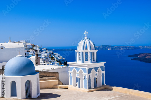 Church in Firostefani, Santorini Island, Greece, with view over volcanic caldera