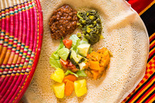 Ethiopian, Food, Meal, African, Injera, Kitfo, Ayibe, Greens, Stew, Spices, Gomen, Background, Wat, Alicha, Traditional, Dinner, Lunch, Red, Horizontal, Cuisine, Cheese, Split, Lentils, Kik, Collard,