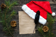 Letter To Santa Claus Mockup. Christmas To Do List Template. Christmas Or New Year Flat Lay Background With Copy Space.