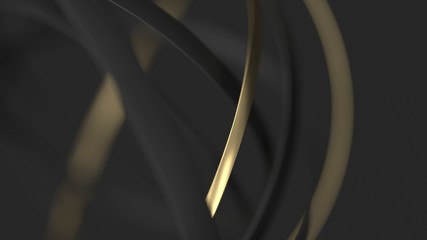 Abstract gold and black background with circles