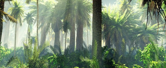 Jungle in the mist morning, palm trees in the haze, 3d rendering