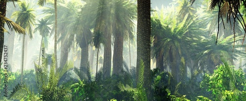 Foto auf AluDibond Olivgrun Jungle in the mist morning, palm trees in the haze, 3d rendering