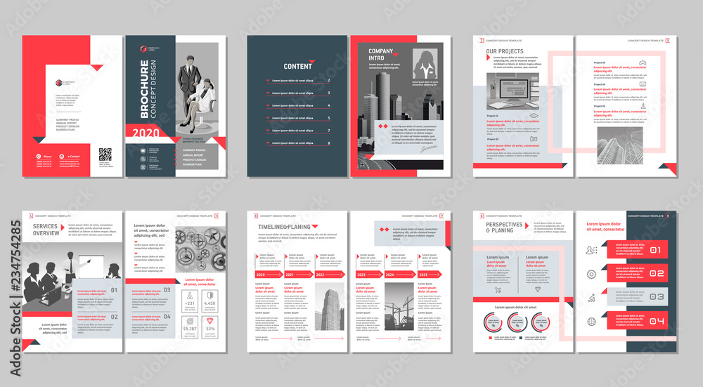 Fototapeta Brochure creative design. Multipurpose template with cover, back and inside pages. Trendy minimalist flat geometric design. Vertical a4 format.