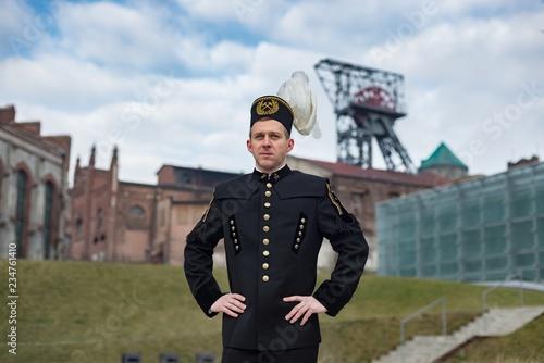 Fotografia Black coal miner in gala parade uniform