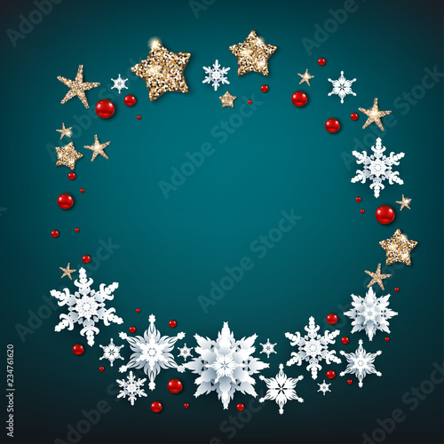 Fotobehang - Blue background and wreath