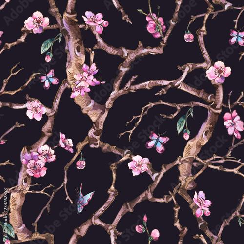 vintage-akwarela-wiosna-ogrod-wzor-z-rozowe-kwiaty-kwitnace-galezie-wisni-brzoskwini-gruszki