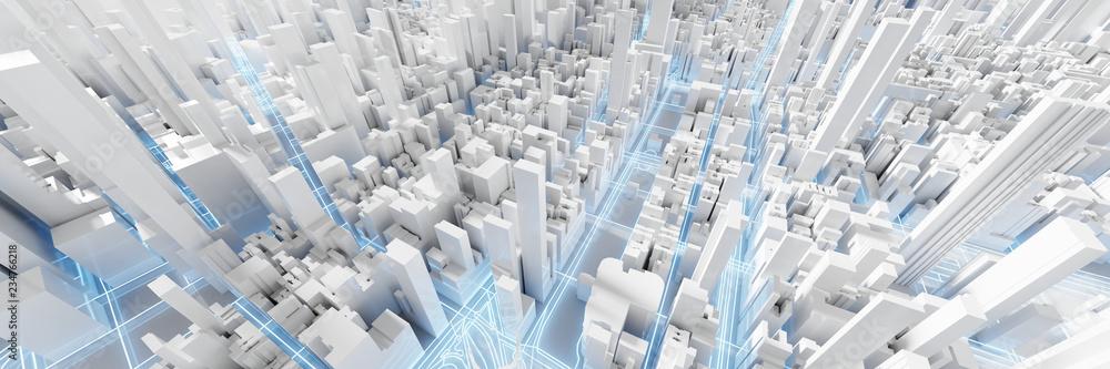 Fototapeta Techno mega city; urban and futuristic technology concepts, original 3d rendering