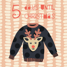 5 Days Until Christmas Vector ...
