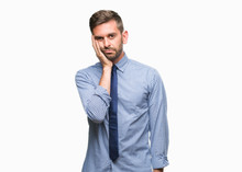Young Handsome Business Man Over Isolated Background Thinking Looking Tired And Bored With Depression Problems With Crossed Arms.