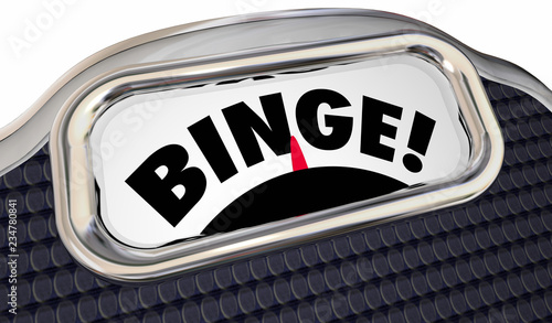 Fotografie, Obraz  Binge Scale Weight Overeating Diet 3d Illustration