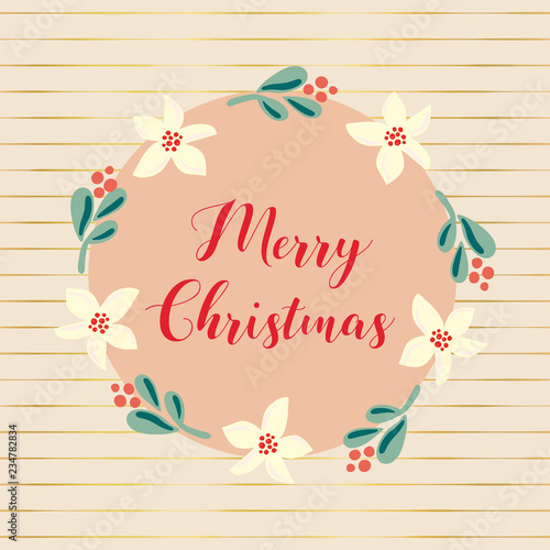 Fotografie, Obraz  Hand drawn vector Merry Christmas holiday illustration