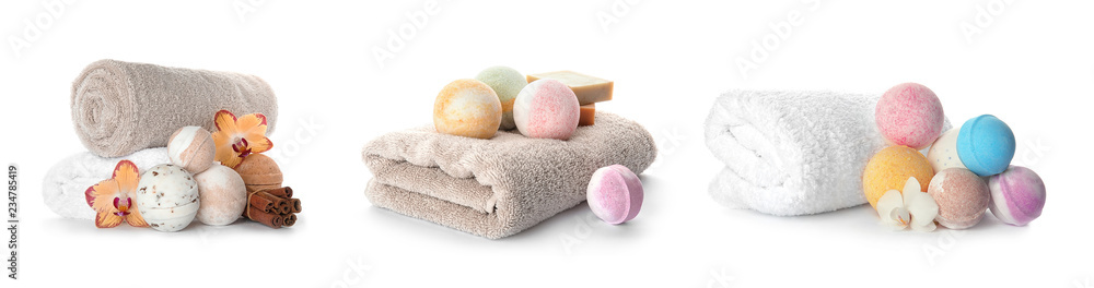 Fototapeta Set with aromatic bath bombs and accessories on white background
