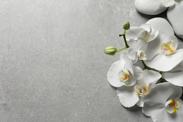Flat lay composition with spa stones and orchid flowers on grey background. Space for text
