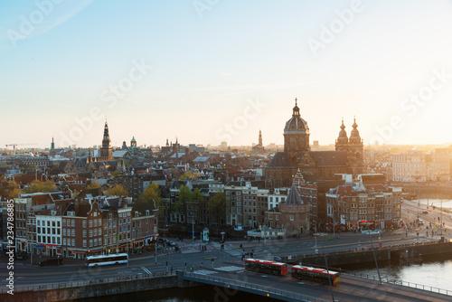 Aluminium Prints Amsterdam Amsterdam skyline in historical area at night, Amsterdam, Netherlands. Aerial view of Amsterdam, Netherlands.