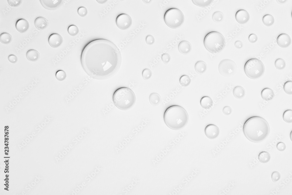 Fototapety, obrazy: Water drops on white background, top view. Space for text