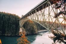 Deception Pass Bridge Connecting Whidbey Island To Fidalgo Island In The Northwest Od Washington State.