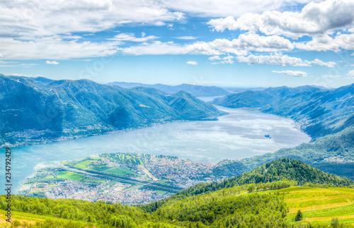Poster Bleu Aerial view of Locarno and Lago Maggiore in Switzerland