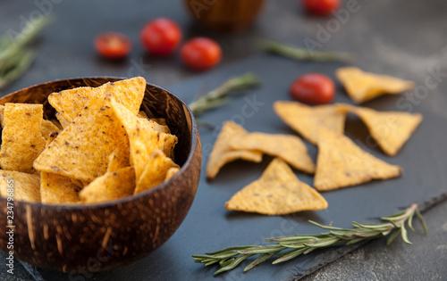 crispy corn chips. potato chips, nachos snack.