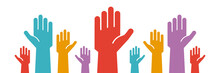 Raised Colorful Hands Voluntee...
