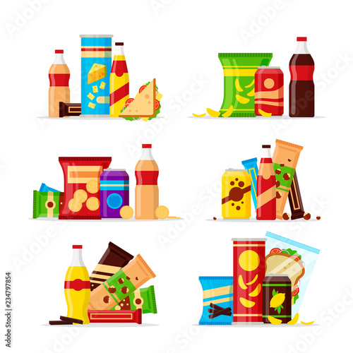 Snack product set, fast food snacks, drinks, nuts, chips, cracker, juice, sandwich isolated on white background Wallpaper Mural