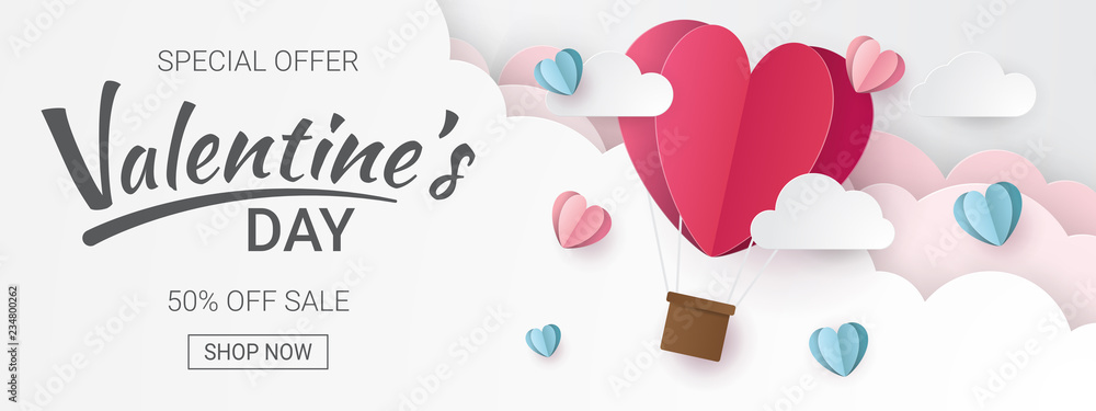 Fototapeta Valentines day sale background with Heart Balloons and clouds. Paper cut style. Can be used for Wallpaper, flyers, invitation, posters, brochure, banners. Vector illustration.