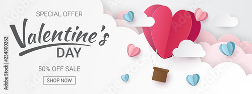 Vászonkép Valentines day sale background with Heart Balloons and clouds