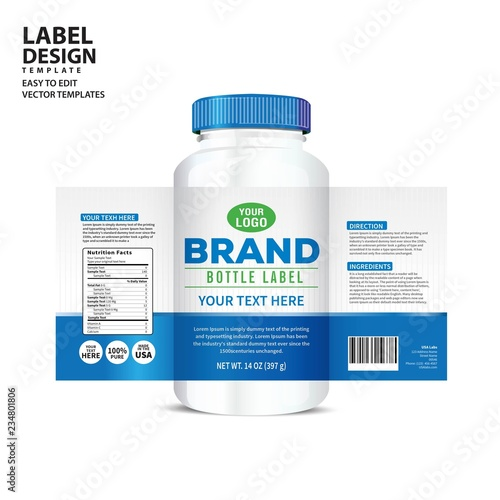 Foto Bottle label, Package template design, Label design, mock up design label templa