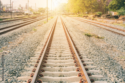 Railroad tracks. with sun rays background.