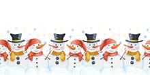 Winter Seamless Pattern, Border With Snowmen. Christmas Texture For Scrapbooking, Fabrics, Packaging, Wallpaper, Children's Design, Textiles.