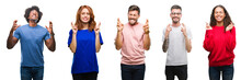 Composition Of African American, Hispanic And Caucasian Group Of People Over Isolated White Background Smiling Crossing Fingers With Hope And Eyes Closed. Luck And Superstitious Concept.