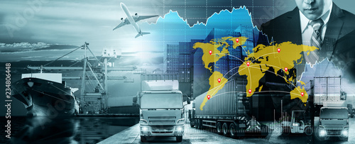 Photo World map with logistic network distribution, Logistic and transport concept in