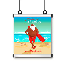 Poster With Santa On The Beach...