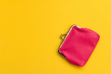 Pink Wallet On Yellow Backgrou...
